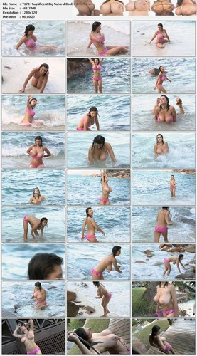 Valory   Magnificent Big Natural Boobs Romping at the Beach HD