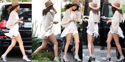 Selena Gomez (1 CO) Upskirt, Los Angeles 27 Abril 2014
