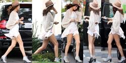 Selena Gomez Microvestido Abierto Upskirt